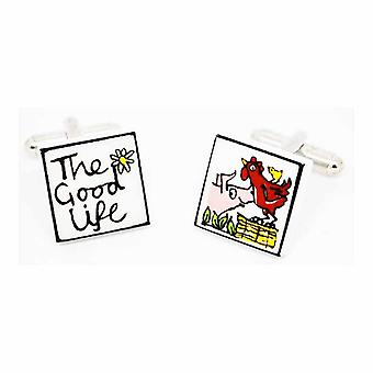 Sonia Spencer The Good Life Cufflinks - English Bone China Hand Crafted Cuff Links