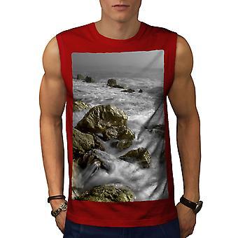 Rock Wild Sea Art Men RedSleeveless T-shirt   Wellcoda