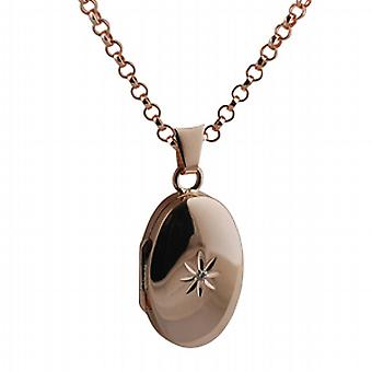 9ct Rose Gold 22x15mm diamond set oval Locket with belcher Chain 16 inches Only Suitable for Children