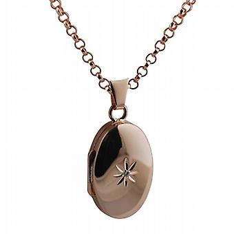 9ct diament 22x15mm Rose Gold zestaw owalny medalion z belcher łańcucha 16 cali nadaje się tylko dla dzieci