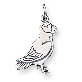 925 Sterling Silver Polished Parrot Charm Pendant - 24mm