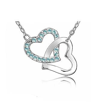 Womens Love Heart Pendant Necklace Sky Blue Stones