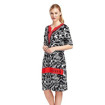 Feraud 3185080-11817 Women's Coralline Beach Black and Red Aztec Short Sleeved Kaftan Beach Dress