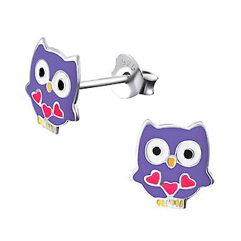 Owl - 925 Sterling Silver Colourful Ear Studs