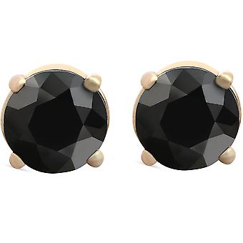 1 1/2 ct 14k Yellow Gold Round Black Diamond Studs Womens Earrings