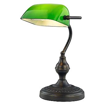 Traditional and Ornate Antique Bronze Bankers Desk Lamp