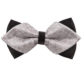 Silver Covert Checks Diamond Tip Bow Tie