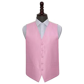 Light Pink Solid Check Wedding Waistcoat
