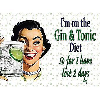 Estou a Gin e tônica Diet... Engraçado Metal assinar 200 X 150 Mm