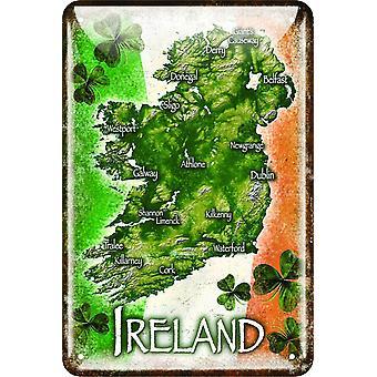 Mapa de Irlanda Metal realzado firmar 30 Cm X 20 Cm (01833)