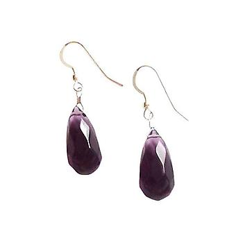 Ladies earrings 925 Silver Amethyst drop faceted Purple 2 cm
