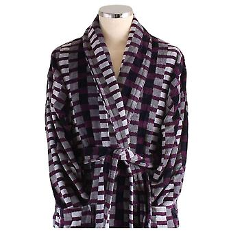 Bown of London Welshpool Geometric Dressing Gown - Black/Grey/Purple