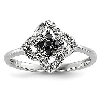 Sterling Silver Polished Prong set Open back Gift Boxed Rhodium-plated Black and White Diamond Pinwheel Ring - Ring Size