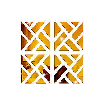 TRIXES 4PC 3D Geometric Mirrored Pattern - Colour Gold - Wall Art Decoration