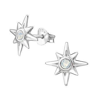 Star - 925 Sterling Silver Crystal Ear Studs - W31596X