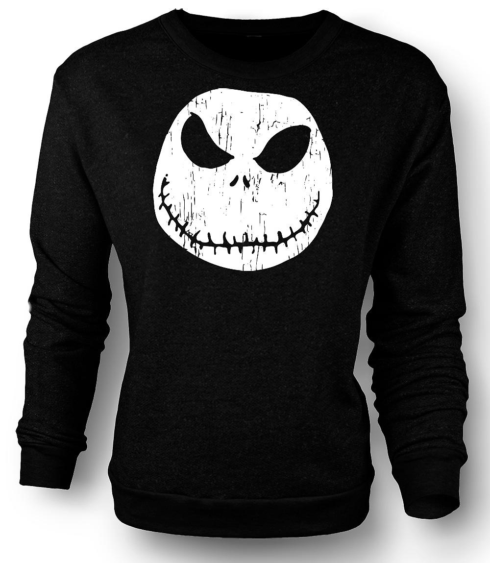 Mens Sweatshirt Scary Halloween Pumpkin - Smiley Face