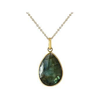 GEMSHINE halskjede med Labradorite gemstone drop 925 sølv eller gullbelagt
