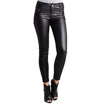 Ribbad Detailing smal läder byxor svart