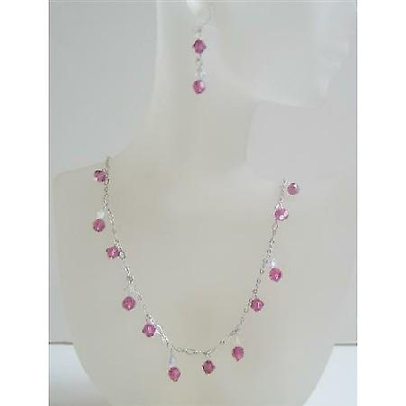 Swarovski AB with Fuchsia Crystals Custom Bridal Jewelry Necklace Set