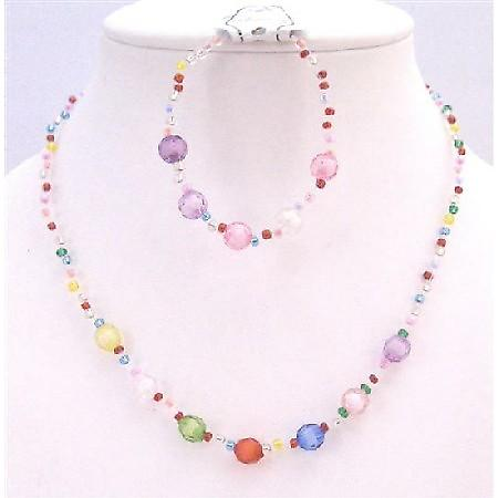 Multicolored Small Big Beads Necklace & Bracelet Girls Return Gift