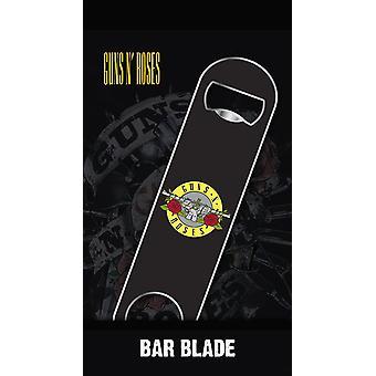 البنادق ن ' الورد شريط أسود شعار فتاحة زجاجة بليد، معدنية، على بطاقة نفطة.