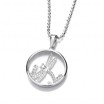 Cavendish French Celestial Silver and CZ Dragonfly Pendant with Silver Chain