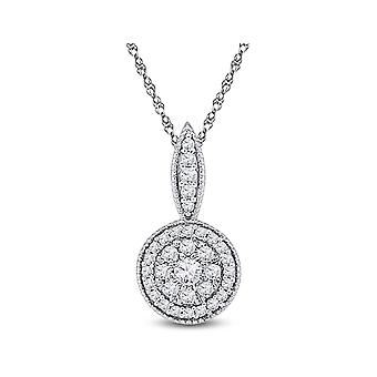 1/3 Carat (ctw Clarity I2-I3, J-K) Diamond Pendant Necklace in 10K White Gold with Chain