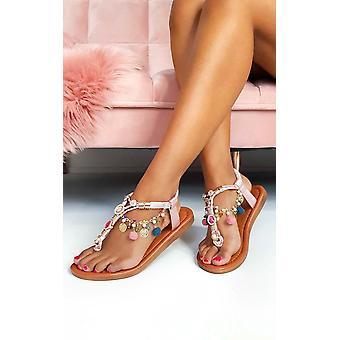 IKRUSH damskie Steffi łańcucha klejnotami T-Bar sandały