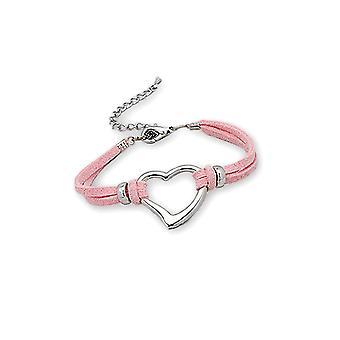 f4854528b72e Pulsera en rosa Suedette corazón y chapa de rodio