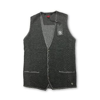 Roy Robson slim fit knitted waistcoat in grey dot pattern