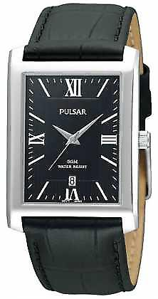 Pulsar Mens Stainless Steel Black Rectangular Dial Leather PXDB71X1 Watch