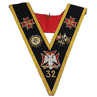 Rose Croix 32nd Degree Collar Hand Embroidered Gold Bullion Wire Made