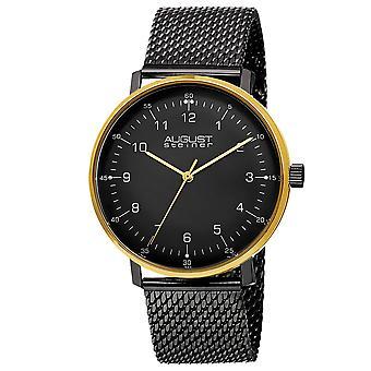 August Steiner Men's AS8091 Swiss Quartz Round Case Stainless Steel Mesh Bracelet Watch AS8091BKG
