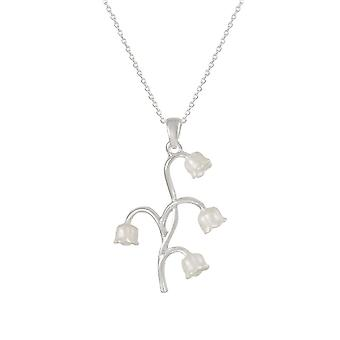 Eternal Collection Lily Of The Valley White Enamel Silver Tone Pendant
