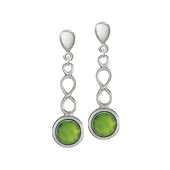 Eternal Collection August Peridot Birthstone Sterling Silver Drop Clip On Earrings