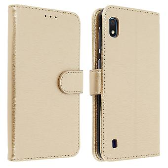 Flip wallet case, magnetic cover with stand for Samsung Galaxy A10 - Gold