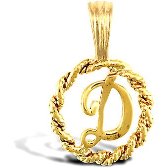 Jewelco London Solid 9ct Yellow Gold Rope Identity Initial Charm Pendant Letter D