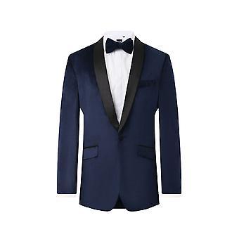 Dobell Herre Navy fløjl 2 stykke Tuxedo regelmæssig pasform kontrast sjal revers