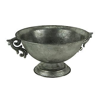 Antieke zilveren metalen decoratieve voetstuk Bowl met Floral scroll handgrepen
