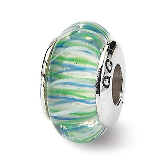 925 Sterling Silver Polished Antique finish Reflections Blue Yellow Murano Glass Bead Charm