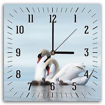 Dekoracyjny zegar z obrazem, Rodzina łabędzi 2