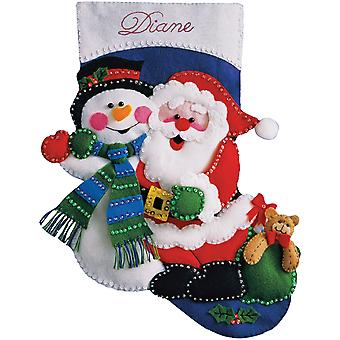 Santa & Snowman Stocking Felt Applique Kit 16
