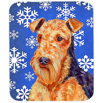 Airedale Winter Snowflakes Holiday Mouse Pad, Hot Pad or Trivet