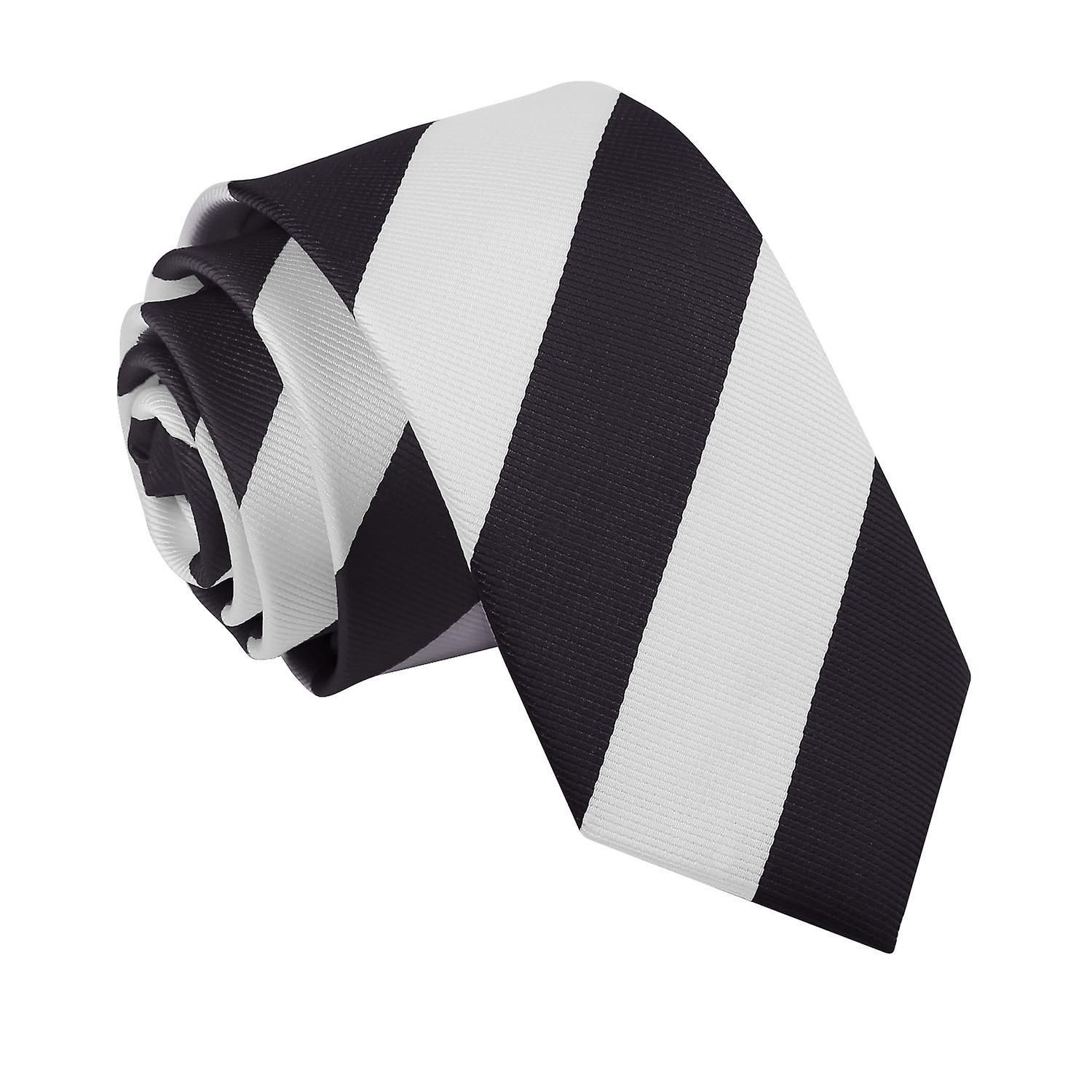 Striped Black & White Slim Tie