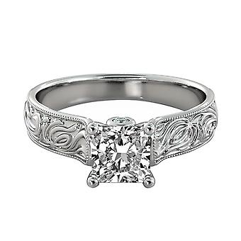 1.36 Carat D VS2 Diamond Engagement Ring 14K White Gold Solitaire w Accents Filigree Cathedral