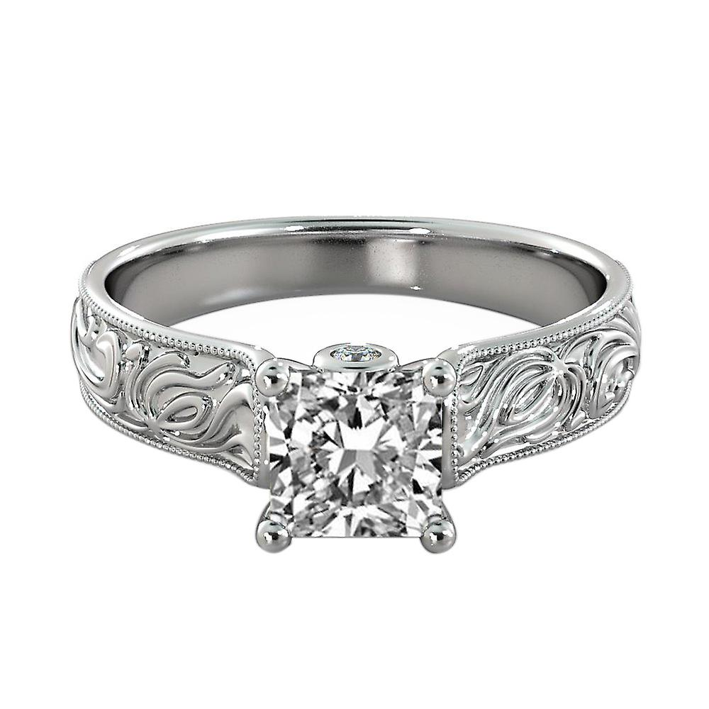 1.71 Carat E SI2 Diamond Engagement Ring 14K White Gold Solitaire w Accents Filigree Princess
