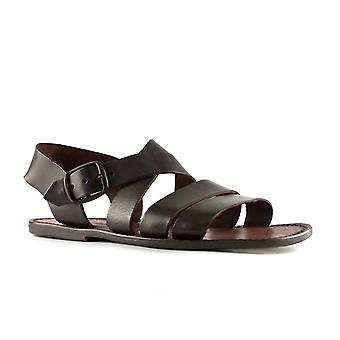 Handmade in Italy mens sandals in dark brown leather