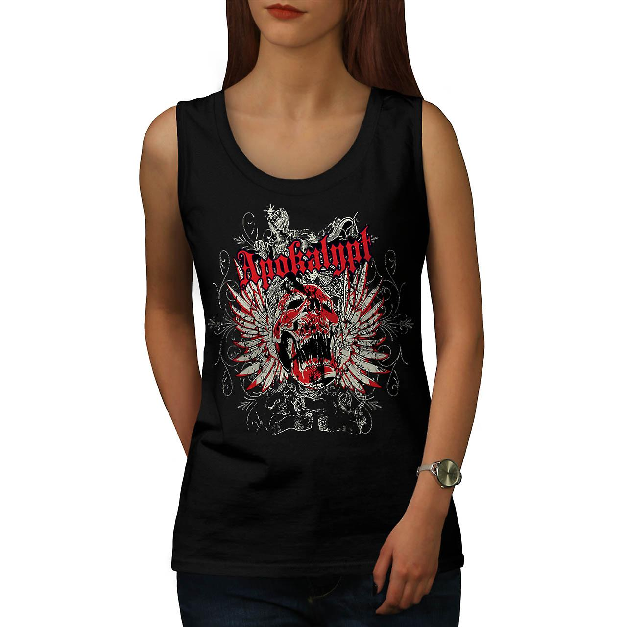 Apocalypse Dead Curse Skull Head Women Black Tank Top | Wellcoda