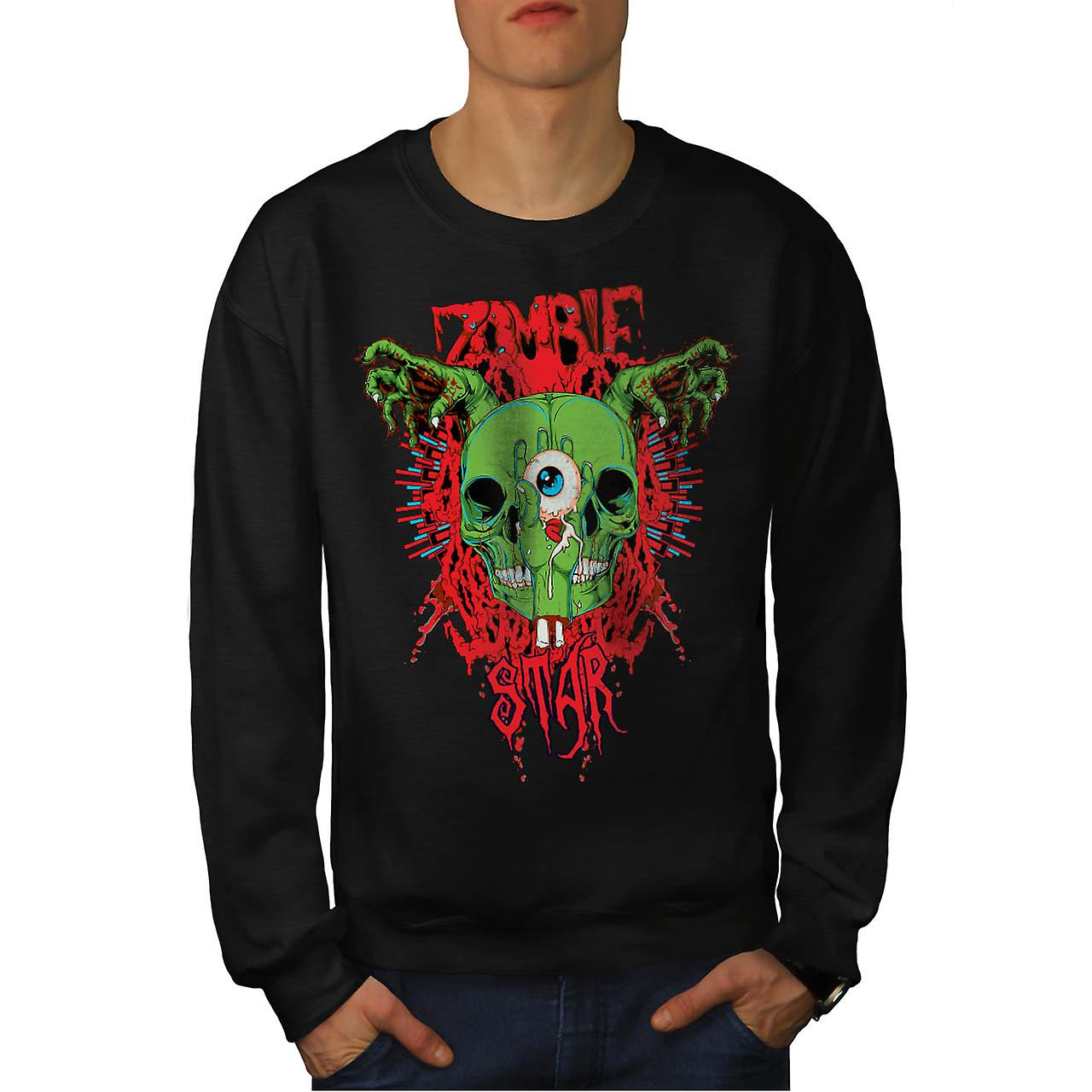 Monster Zombie Evil Star Night Men Black Sweatshirt | Wellcoda
