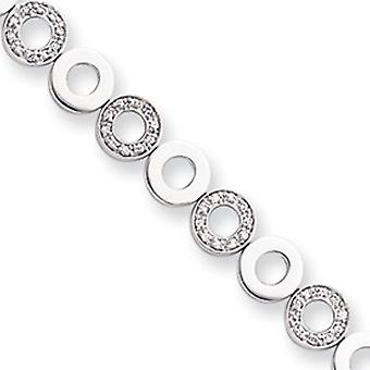 Rhodium-plated CZ Circle Bracelet - 8.25 Inch